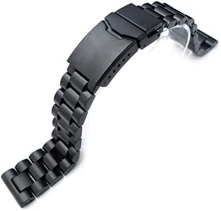 20mm Endmill Solid 316L SS Watch Bracelet, Straight End PVD Black, Chamfer Diver Clasp