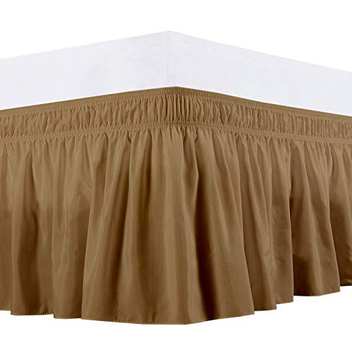 (Waletone Linen Three Sides Fabric Wrap Around Elastic Solid Bed Skirt, Easy On/Easy Off 100% Microfiber Dust Ruffled Bed Skirts- Bed Wrap with 14 Inch Tailored Drop (Short Queen/Queen, Taupe))