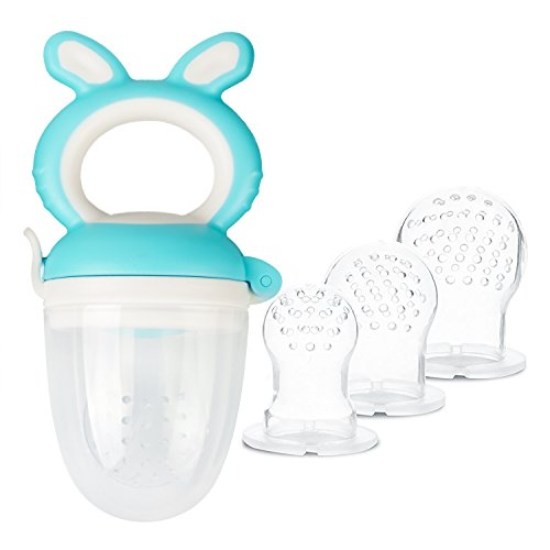 Baby Fruit Feeder Pacifier -Tinabless Food Feeder / Infant Teething Toy Teether for Toddlers & Kids | BONUS Includes 3 Sizes Silicone Sacs (Blue)
