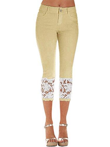Cintura Elástica Denim ShallGood Sexy Jeans Pantalones Skinny Encaje Mujer para Fit Alta De Leggings Vaquero Caqui Slim Capr gIpqI60S