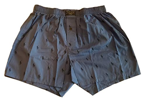 Polo Ralph Lauren Men`s Printed Cotton Boxer (Medium, Blue-Steel/Navy ()