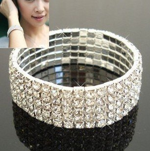 White Circle Pearl Station Necklace (Hottest Fashion Jewelry Shining Rhinestone FIVE Rows Bracelet (JNM-A-007))