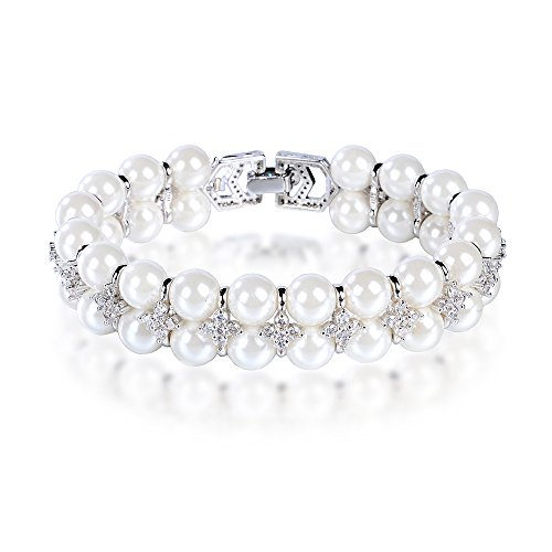 Pearl Bracelet Double Row and Cubic Zirconia Bracelet white 7.5