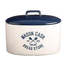 Mason Cash Varsity Ceramic Bread Crock, 6-Quarts, Cream, Navy Blue
