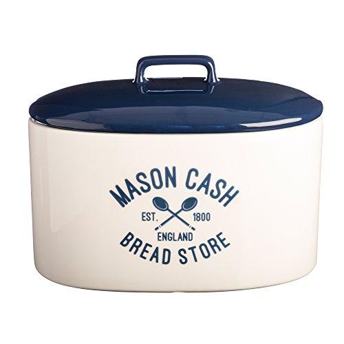 Mason Cash Varsity Ceramic Bread Crock, 6-Quarts, Cream, Navy