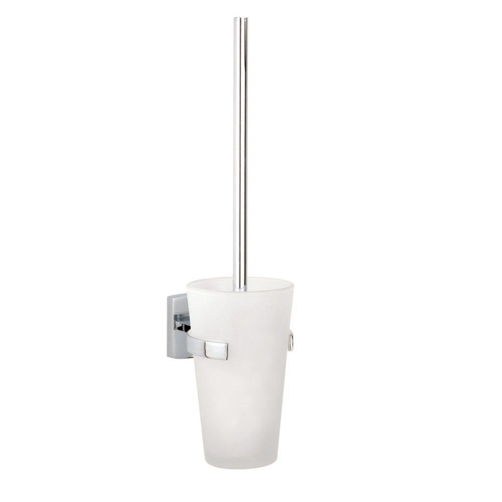 Klaam Wall Mount Toilet Bowl Brush Set-Frosted Glass Holder in Chrome