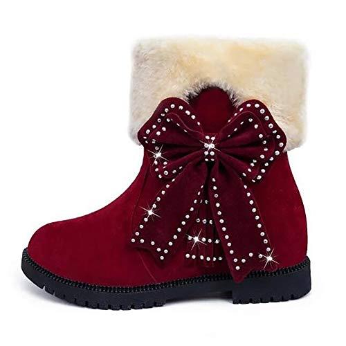 Arco Decoración Cortas Tobillo Cálida Invierno Nieve Red Botas Bota 34 Mujer red De Linda YqvCXw