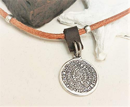 Ancient Greek Coin Leather Necklace for Men, Phaistos Disc Symbol, Handmade Wearable Art Pendant