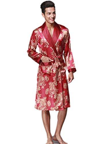 YUAKOU Men's Long Sleeve Satin Kimono Robes Dragon Phoenix Pattern Silk Nightwear Bathrobes (Long Sleeve Satin Robe)