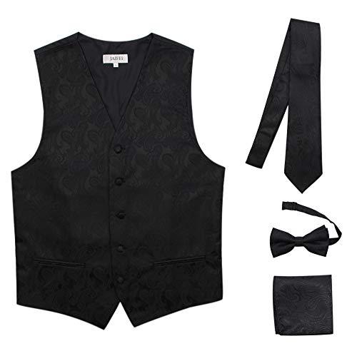 JAIFEI Premium Men's 4-Piece Paisley Vest for Sleek Looks On Formal Occasions (L (Chest 42), Black)
