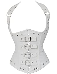 Ya Lida Women's Fashion PU Leather Halter Shoulder Straps Underbust Corset Top