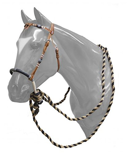 - Showman Leather Futurity Knot Headstall with Rawhide Braided Bosal and Horse Hair Mecate Reins