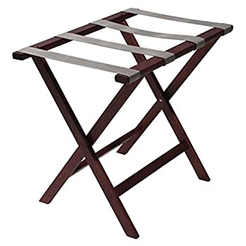 Wooden Mallet Deluxe Straight Leg Luggage Rack, Grey Straps, Mahogany