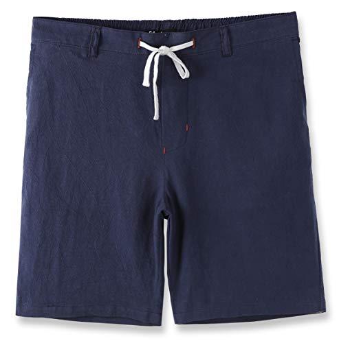 Estepoba Men's Linen Cotton Casual Classic Fit Drawstring Walk Short Royal Navy L (Drawstring Shorts Capri)