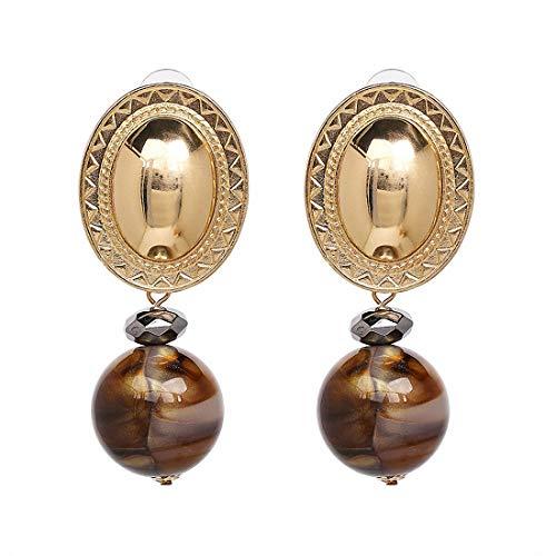 Simulated Pearl Drop Earrings Women Gold Dangle Earring Handmade Brincos Drop Earrings Brown ()