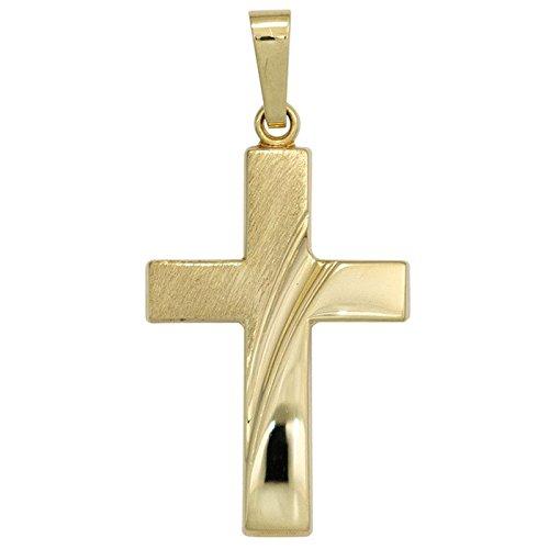 Pendentif goldkreuz kreuzchen à rayures en forme de croix en or jaune 585 pliantes