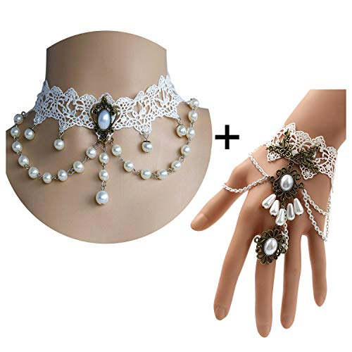 Lolita Jewelry (Youniker Vintage Choker Necklace for Halloween Costume Party Women Gothic Bridal White Lace Necklace Bracelet Set Princess Lolita Braided Pendant Chain)