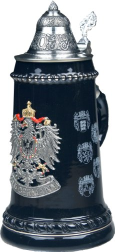 Beer Stein by King - Old Germany (Deutschland) Pewter Coat of Arms German Beer Stein 0.5l