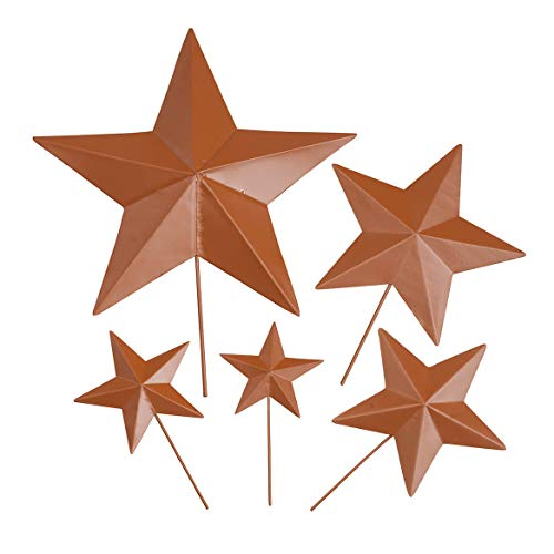 Fox Valley Traders Rustic Barn Star Garden Stakes Set of 5