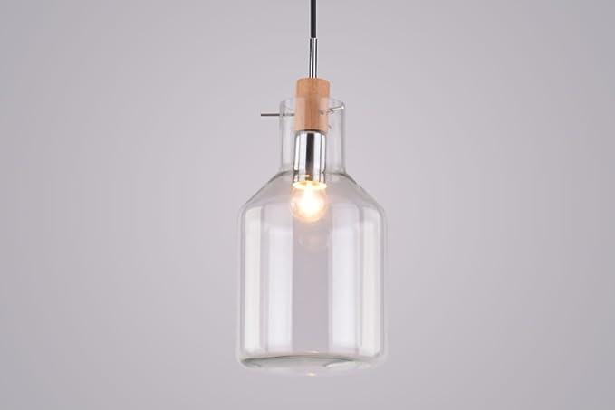 Lámpara colgante cagusto Valla I Cristal Botella Jarrón Edison Retro Madera Diseño Bottle