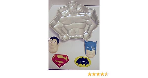 Amazon Com Retired Wilton Batman Superman Cake Pan 1977 Dc Comics As Shown Novelty Cake Pans Kitchen Dining