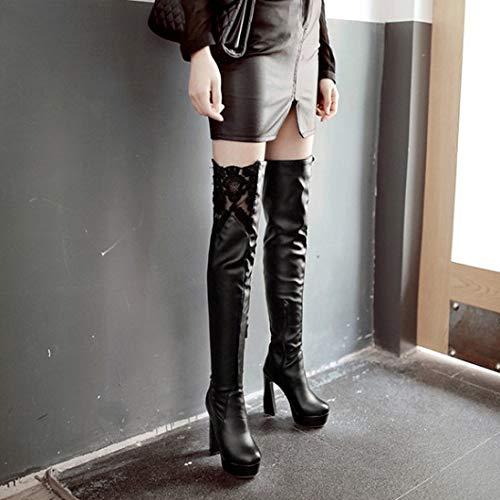 alta Donna Alti Yomo Signore Pu Elasticizzati Pelle Alto Black Stivali Coscia Sexy Tacco 8wCdwqxBS