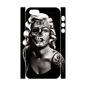 Personalized Phone Case with Hard Shell Protection for Iphone 5,5S 3D case with Skull Marilyn Monroe lxa#911627