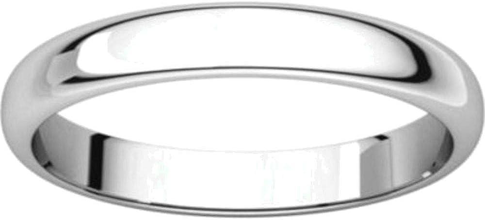 Bonyak Jewelry 10k White Gold 3 mm Half Round Band Size 14