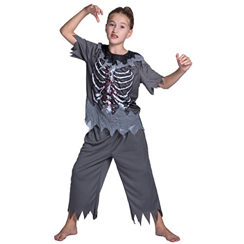 JIESENG Halloween Skeleton Zombie Costume for Kids,Girls,Boys,Fit for Activities,Festivals,Theme Parties -