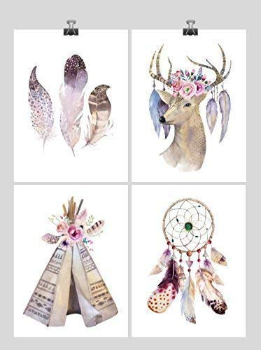 Postcard Teepee (Boho Tribal Watercolor Nursery Wall Art Print Set of 4 - Multiple Sizes)