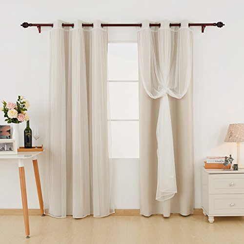 Deconovo Grommet Top Thermal Insulated Blackout Curtains Light Beige Set of 2 and 2 Mesh White Sheer Curtains for Bedroom Set of 4 Panels 42X63 Inch - bedroomdesign.us
