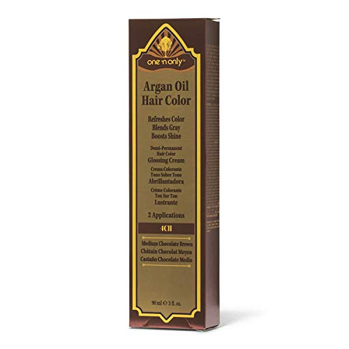 One 'n Only 4CH Medium Chocolate Brown Demi Permanent Hair Color Glossing Cream #4CH Medium Chocolate Brown (Argan Oil Hair Color Medium Chocolate Brown)