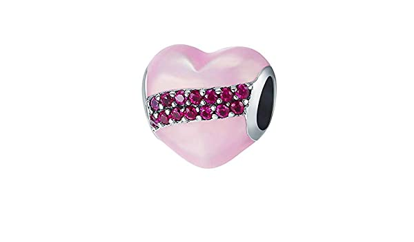 EverReena Pink Heart Girlfriend Silver Beads Bracelets