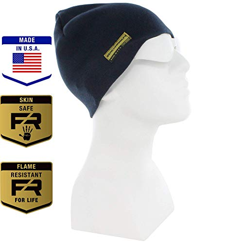 Benchmark FR Flame Resistant Skull Cap, Navy, Men's CAT 3 FRC with 36 Cal Rating, Warm, Made in USA, Inherent FR Materials ()