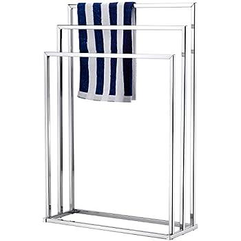 MyGift Freestanding Towel Rack  3 Tier Metal Towel Bar Stand  Silver Tone  Chrome. Amazon com  MyGift Freestanding Towel Rack  3 Tier Metal Towel Bar