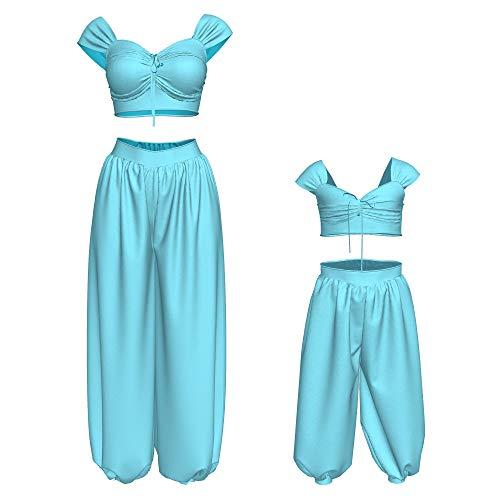 Xcostume Disney Princess Jasmine Girls Costume Princess Jasmine Costume for Girls Princess Dress Halloween Costume Sky Blue -
