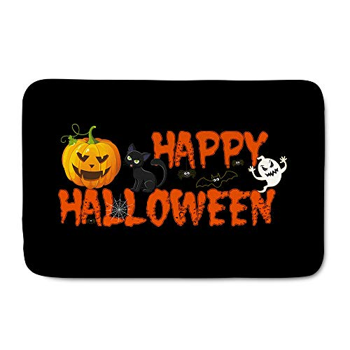 HUGS IDEA Halloween Cemetery Pumpkins Doormat Thick Soft Flannel Floor Mats Front Area Rug Indoor Carpet