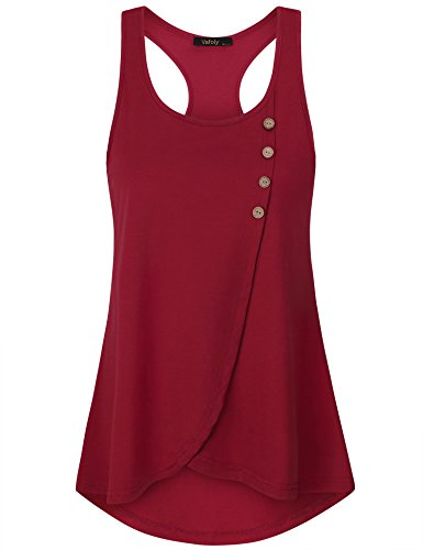 - VAFOLY Casual Tank Tops for Women, Ladies Causal Sleeveless Crew Neck Loose Tops Pleated Flowy Tank Top Wine L