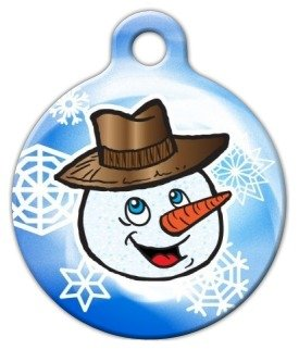 Smiley Mister Snowman Pet ID Tag for Dogs and Cats - Dog Tag Art - SMALL SIZE - Mister Snowman