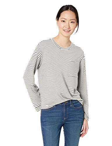 (Amazon Brand - Daily Ritual Women's Supersoft Terry Long-Sleeve Boxy Pocket Tee, White-Black Skinny Stripe, Large )