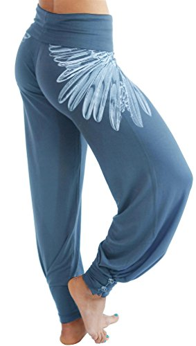 Casual Wide Leg - Hali Cali Women's Straight Casual Loose Wide Leg fold Over Comfy Palazzo Pants (L, Blue Wings with Buttons)