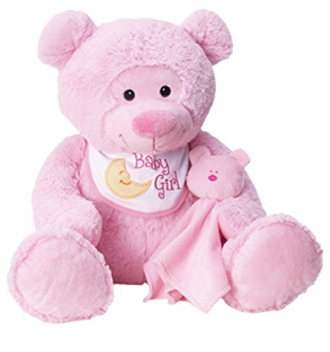 CHINA SUPPLIER 13 BABY MOUFLEZ BEAR WITH BIB AND BLANKIE PINK