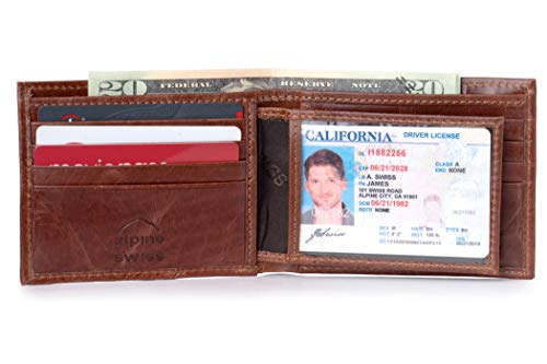 Alpine Swiss Mens RFID Blocking Leather High Capacity Bifold Wallet Brown (Citi Bank Best Credit Card)