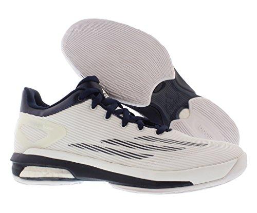Adidas Sm Crazylight Boost Scarpe Da Basket Basse Bianche / Blu Scuro
