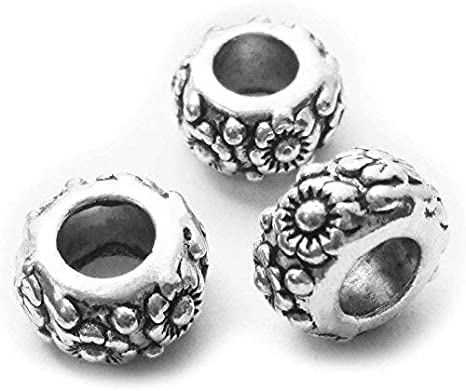 50pcs 8mm Tibet Style Big Hole Charms Silver Plated Spacer Gear Beads Findings