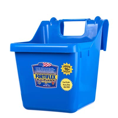 (Fortiflex Hook Over Fence Feeder for Dogs/Cats and Horses, 16-Quart, Blue)