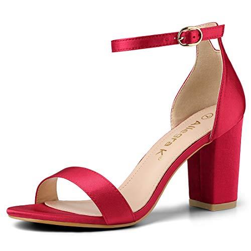 Allegra K Women's Satin Ankle Strap Chunky Heels Red Sandals - 9 M US