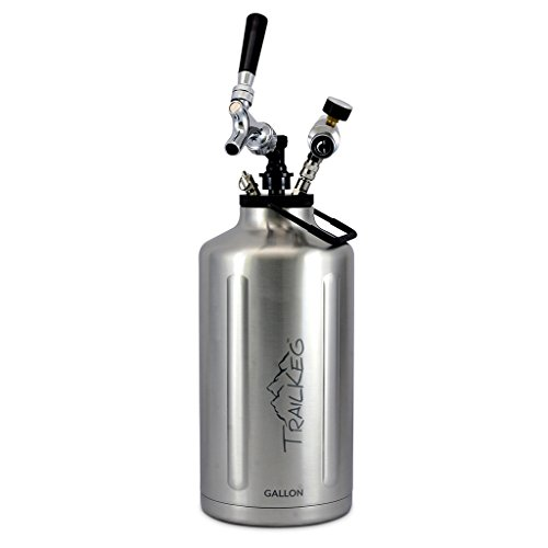 TrailKeg - Gallon Stainless Steel Growler for Beer - Vacuum Insulated Double Wall Design - Chrome Tap and Dual Stage CO2 Regulator - Keeps Drinks Perfectly Cold and Carbonated - Portable and Durable ()
