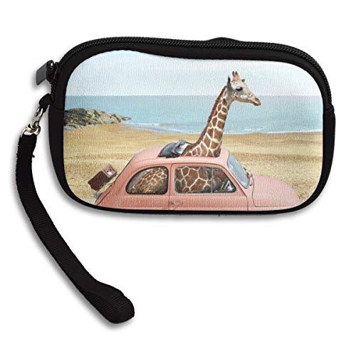 Giraffe In The Car Modern Travel Coin Pouch Clutch Purse Wristlet Wallet Phone Card Holder -