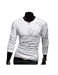 Men's Casual Cotton Long Sleeve Dragon Tattoo Printing Slim Fit